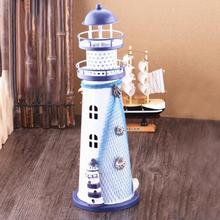 Regional Casting Lighthouse Beacon Tower Flash Ocean Iron Crafts Iron Lighthouse Desktop Ornaments For Kids Gifts(China)