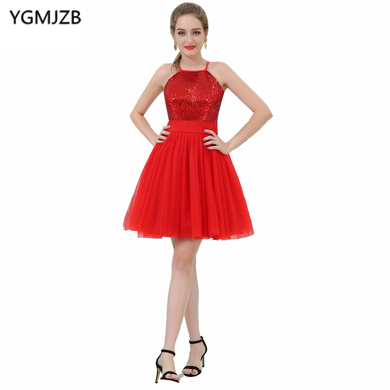 Cheap Red Cocktail Dresses 2018 A Line Halter Sleeveless Short Prom Dress Sequined Tulle Mini Party Dress Vestido De Festa Curto
