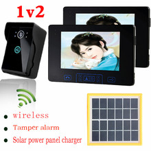 Solar power charger digital wireless video door phone home video intercom 2 take photo indoor monitors touch key outdoor camera