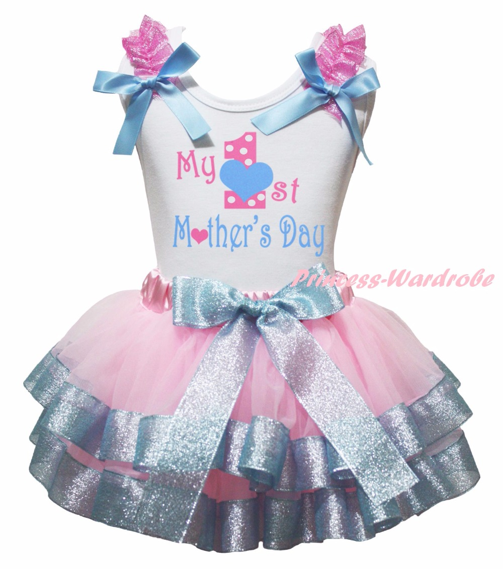 White Cotton Shirt Silver Pink Petal Skirt Girl Outfit Set Dress Mothers Day Costume Nb-8y LKPO0014<br>