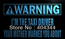 LZ017- Warning I'm the Taxi Driver LED Neon Light Sign home decor shop crafts(China)