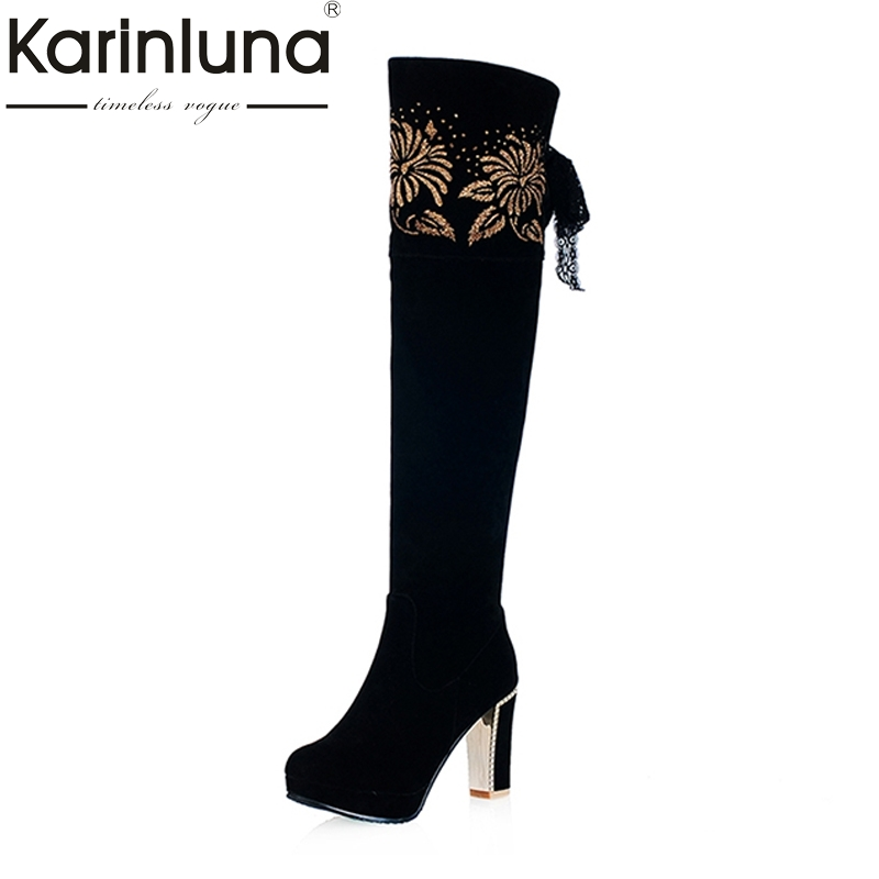 2016 Embroidery Lace Up Round Toe Platform Spring Autuumn Shoes Women Long Boots Thick High Heels Knee High Boots<br>