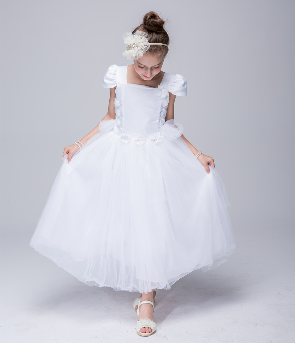 Sweet Tulle Ball Gown cap sleeve Light Blue Open Back Gorgeous Scoop Bridesmaid wedding little girl dress<br>