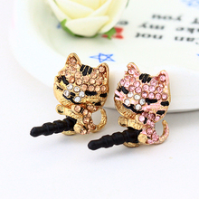 300pcs/lot Jewelry Sleepy Little Cat Design Full of Diamond Phone Dust Plug For Iphone and All 3.5mm Earphone Plug Smart Phone(China)