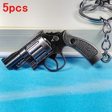 5pcs 2017 new unique metal pistol key chain ring gun keychain revolver keyring weapon cool Bag Accessory charm women men gift
