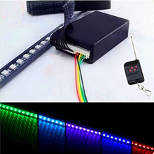 48 LED 7 Color RGB Knight Night Rider LED Lighting Strobe Truck Warning Bar Car Police Light Bars Lamp w/Remote