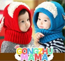 2016 Winter Warm Hats Kids Novelty Fashion Bebes Warm Scarf Cap Set Infantil Red Blue Yellow Newborn Crochet Outfit