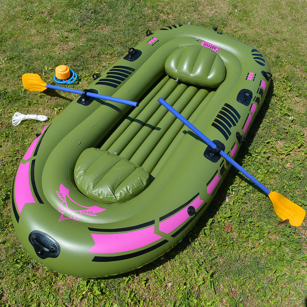 1 Set 2 - 3 Person Portable Inflatable Boat High Strength PVC Rubber Fishing Boat 230x137cm with Paddles Pump Patching Kit (16)