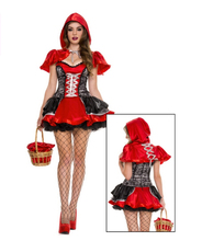 Little Red Riding Hood cosplay carnival sexy suit party costume halloween  role-playing dress+cloak set hot girl women  uniform