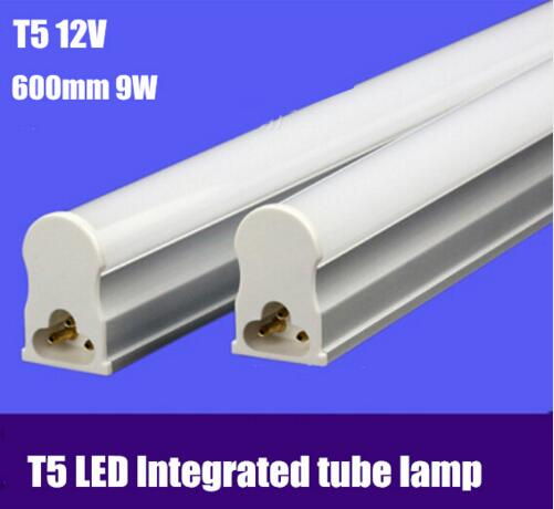 FEDEX Free shipping 30pcs/lot led fluorescent tube t5 600mm/2ft 9w 12v/24v led solar tube light 700-800lm 2835smd(China)