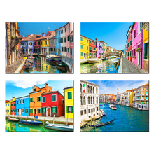 4 Piece Modern Canvas Painting Italy Venice Landscape Wall Art Poser Print Beautiful City River Pictures Home Decor for Bedroom