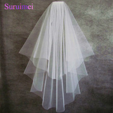Tulle High Quality Cut Edge Two Layer Wedding Veil Bridal Veils Wedding Accessories D0012(China)