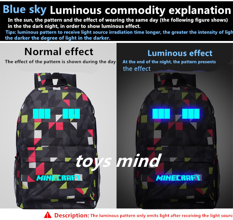 2017 Newest Royal Oxford Minecraft Glowing School Bag model minecraft creeper backpack for unisex GAME Birthday gift kids<br>