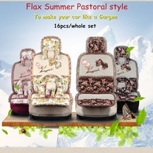 """To make your car like a garden"" Pastoral style butterfly flower breathable linen lace car seat cover 16pcs/set Girl accessories"