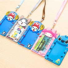 Cute Cartoon Animals Silicone card case holder Bank Credit Card Holders Card Cover Bus ID Holders Identity Badge with Rope(China)