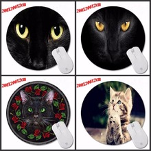 Speed Control Soft Silicone Computer  Black Cat Eyes Mouse Mat Design Hot Sale Mouse Pad Computer Gaming Round Mice Pad