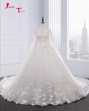 Buy Jark Tozr 2017 New Design Long Sleeve Lace Pearls Appliques Flowers Chapel Train Gorgeous Ball Gown Wedding Dress Plus Size for $279.99 in AliExpress store
