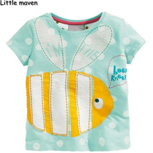 Little maven kids brand clothing summer baby girls clothes short sleeve t shirt Cotton big fly fish brand tee tops L037
