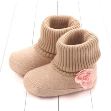 Cute Flower Inlay solid Baby Boots 3 color Fashion Newborn Infant Girls First Walkers footwear warm winter shoes soft sole
