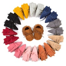 Baby Girls Boys First Walkers Tassel Lace-Up Nubuck Leather Shoes Soft Bottom Prewalkers 0-18M New