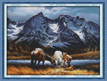 Romances under the snow mountains cross stitch kit 14ct 11ct count printed canvas stitching embroidery DIY handmade needlework