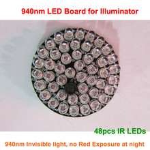 F5 48pcs LEDs 940nm IR infrared Lights LED Board for Dome type CCTV IR Illuminator Lamp, No red exposure at night, Free Shipping