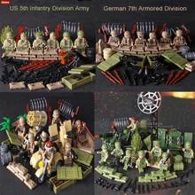 Oenux WW2 Tunisia Mini Military US German Army Figure Building Block Classic M59 Cannon Multiple Rocket Launcher Model Kids Toys