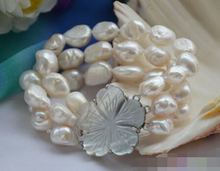 "FREE SHIPPING>> 3row 8"" white baroque freshwater cultured pearl bracelet"