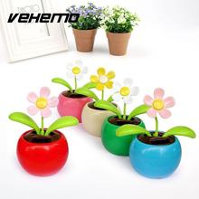Vehemo Hot Solar Powered sunlight power Flip Flap leaves Flower Flowerpot For Car Swing automatic Flower Gift Colorful(China)