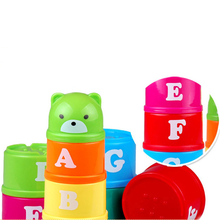 Hot 1 Set Intelligence Creative Blocks Toys for Children Plastic Piles Cup Baby Kids Early Learning Cognitive Game Gifts 2017(China)