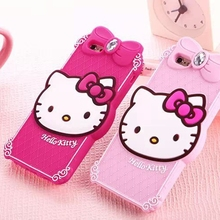 3D cartoon cute hello kitty rhinestone case soft silicone lovely bowknot Ladies phone cover for iPhone 6 6s plus