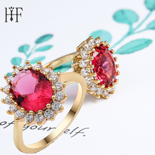Luxury 3.5 ct Big Oval Cut AAA Zircon Ring with Micro Paved CZ Ring for Women Fashion Jewelry Female Rings 10 Types Flower Ring(China)
