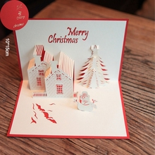 Red Christmas Castle 3D laser cut pop up paper handmade postcards custom wholesale greeting cards Xmas gifts