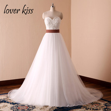 Lover Kiss Vestido De Noiva Simple White A-Line Country Western Wedding Dresses Bride Spring Summer Pearls Bridal Gowns Designe(China)