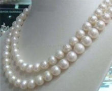 "New Fashion 8-9mm White Akoya Cultured Pearl Necklace 34"" beads jewelry making Natural Stone YE2079 Wholesale Price"