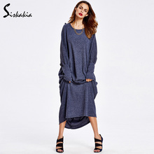Siskakia Dresses of the big sizes 2017 winter dress Muslim Islam Middle east maxi dresses Dressing gowns for women Dress Female(China)