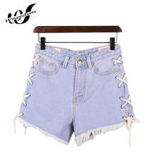 WNEEDYM Summer Mini Frenal Shorts Jeans Femme Taille Basse Slim Lace-Up Pure Cotton Hot Ripped Hole Hotpants Denim LYH04(China)