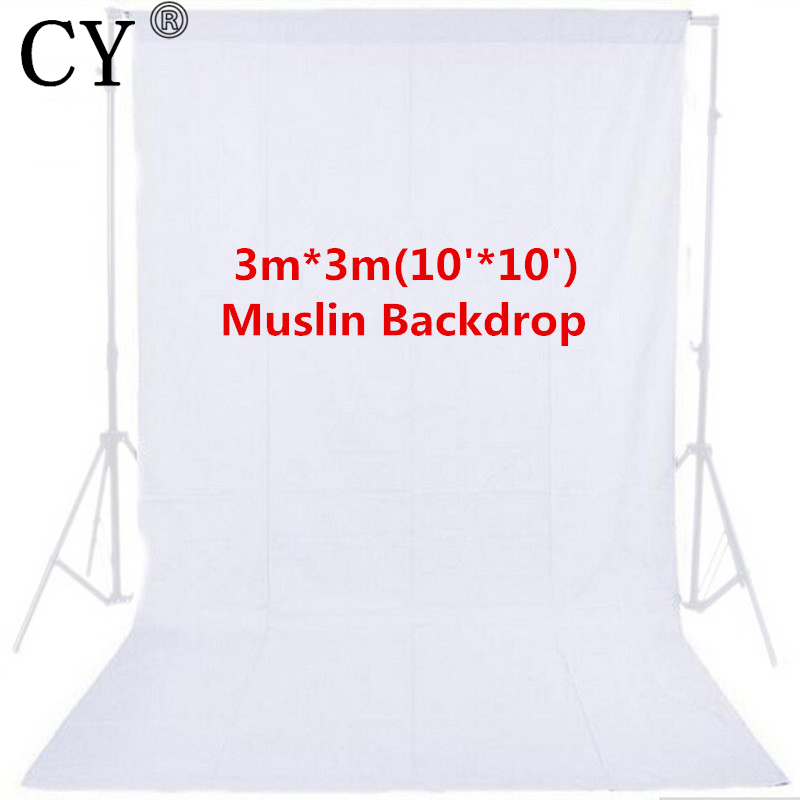 CY High Quality Photo Studio 10ft x 10ft 3m x 3m Solid White Muslin Backdrop Photography Backgrounds Backdrops Hot Selling<br>
