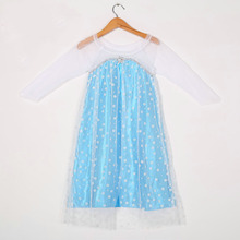 fashion mesh neck party frocks design princess elsa smocked dresses for girls