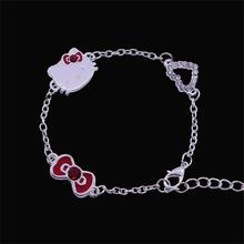 Fashion Exquisite Peach Heart Bow Hello Kitty Bracelet For Women