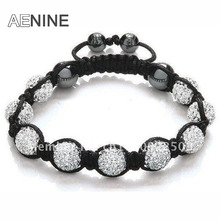 AENINE Fashion Jewelry Bracelets For Women Classic 10mm Micro Pave CZ Disco Ball Beads Crystal Bracelet & Bangle Jewelry SHBR21(China)