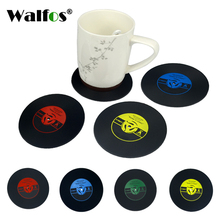 4Pcs/set Retro Vinyl CD Record Drinks Coasters Table Cup Mat Coffee Placemat Silicone Printed Pattern Anti-fade Home Decor(China)