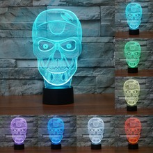 acrylic LED Light Decoration Christmas Night Lights 7 color change 3D light Skull Touch sensor desk Lamp Kids Present IY803479(China)