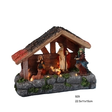 Christmas decoration nativity village house with warm white led light,Xmas holiday ornament gifts