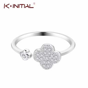 Kinitial 1Pcs 925 Silver Jewelry Rings Plant Flower Lucky Clover Crystal Adjustable Cute Fashion Woman Gifts Finger Ring Bijoux