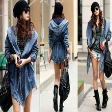 Women's Hot Denim Trench Coat Hooded Coat Hooded Jeans Cowboy jack New Cowboy Women Long-Sleeved Cardigan Long Coat Female