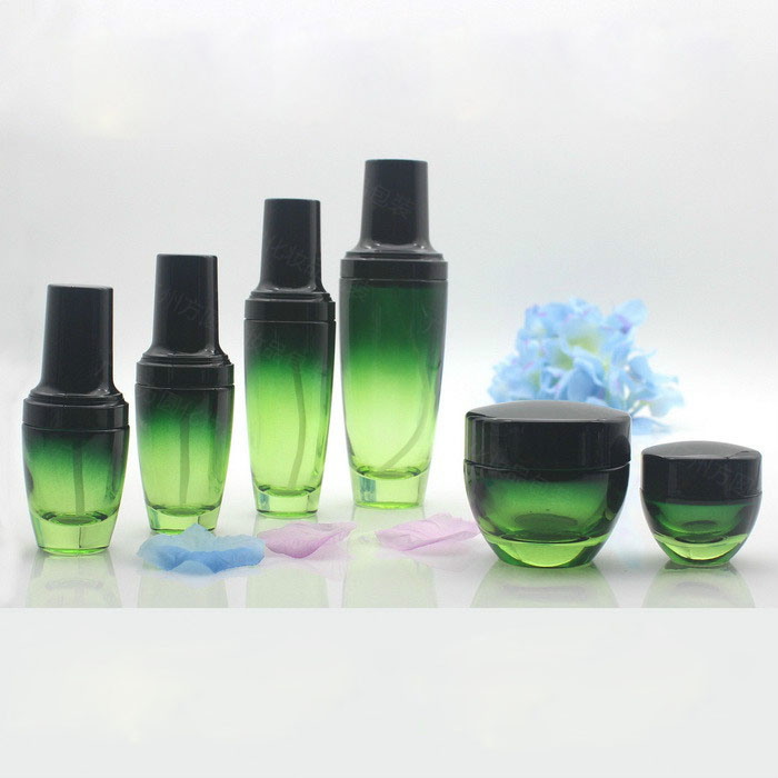 Free Shipping 6pcs/set Empty Refillable Green/Purple Glass Lotion Pump Bottles Cream Box Package Cosmetics Makeup Tools set <br>