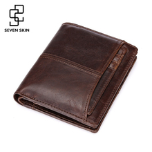Vintage Designer Men Genuine Cowhide Leather Wallet Male Short Coin Purse Card Holder Small Wallet Mini Photo Holder Removeable