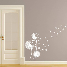 White Dandelion Wall Decals Beautiful With An Artistic Conception Dandelion Flower Plants Wall Art Stickers Vinyl Home Decor 137