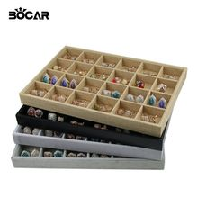 BOCAR Brand New Quality 24 Grid Jewelry Trays Jewelry Display Holder Bracelet Ring Earring Box Case Jewelry Storage Organizer(China)